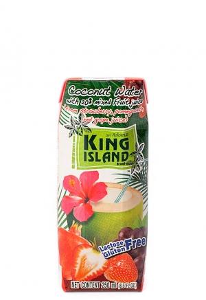 Вода кокосовая с фруктовым соком клубники, граната, винограда KING ISLAND, 250 мл