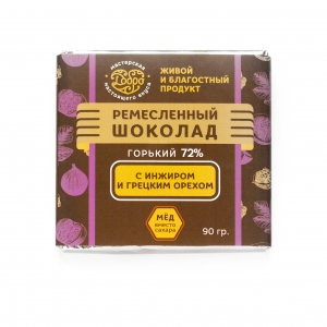 Шоколад Горький с инжиром и грецким орехом, 90гр