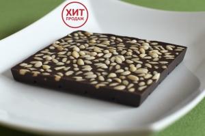 Шоколад Горький с кедровым орехом, 90гр